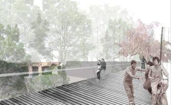 Fotomontaje de la pasarela sobre la rambla.