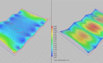 Diagramas de geometría de la membrana tras la deformación por viento.