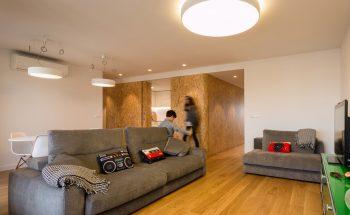 """Vista desde el salón hacia el """"tronco"""", pieza central de madera que contiene la cocina y un aseo"""